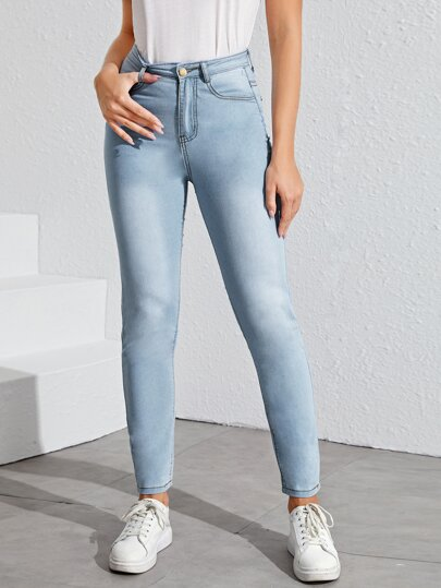 Washed Solid High Rise Jeggings