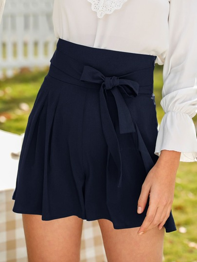 Solid Self Tie Wide Leg Shorts
