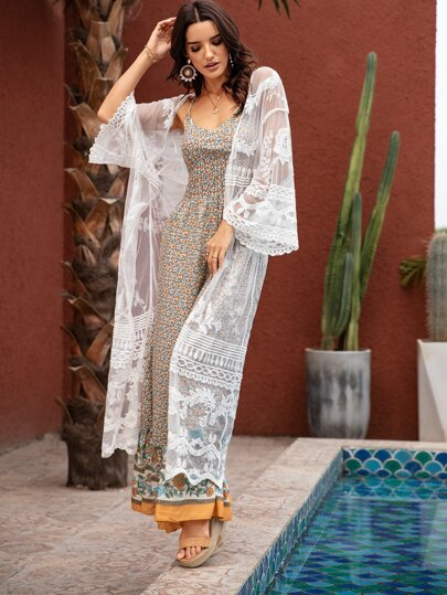 Embroidered Mesh Sheer Longline Kimono Cover Up