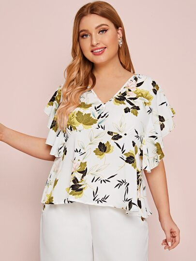 Plus V-neck Floral Butterfly Sleeve Blouse