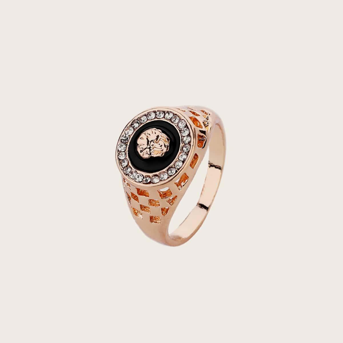 1pc Men Rhinestone Decor Hammered Ring