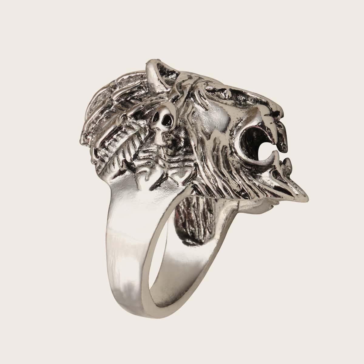 1pc Men Lion Design Ring