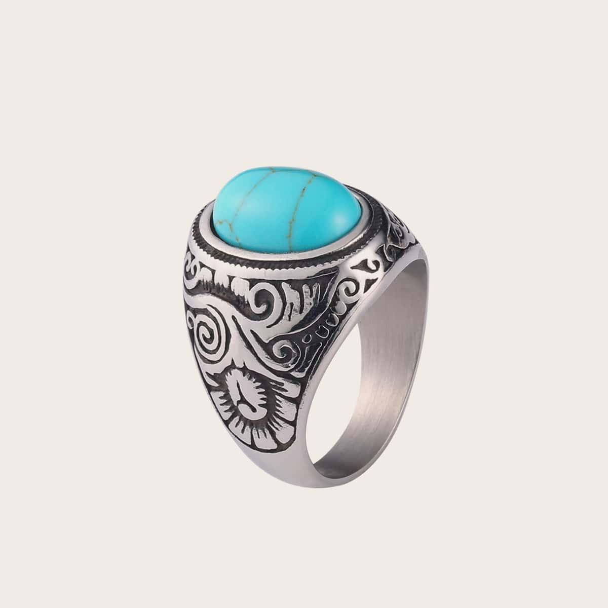 1pc Men Turquoise Decor Ring