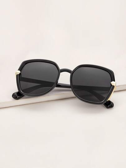 Metal Decor Acrylic Frame Sunglasses With Case