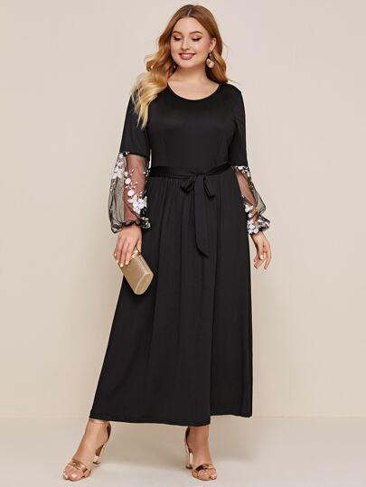 Plus Embroidery Mesh Bishop Sleeve Belted Dress