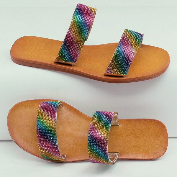 Rainbow Rhinestone Pave Double Band Slide Sandals, Multicolor