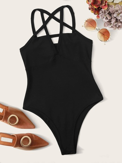 Criss Cross Slim Fit Cami Bodysuit