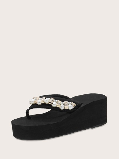 Toe Post Pearl Decor Wedge Mules