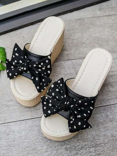 Polka Dot Bow Decor Espadrille Wedge Mules