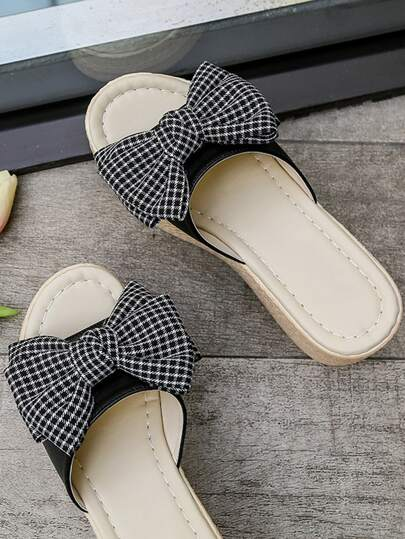 Bow Decor Espadrille Wedge Mules
