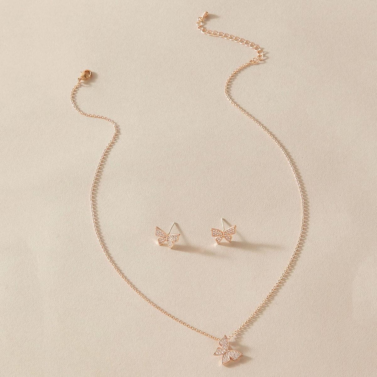 3 Stücke Schmetterling Design Charme Halskette & Ohrringe
