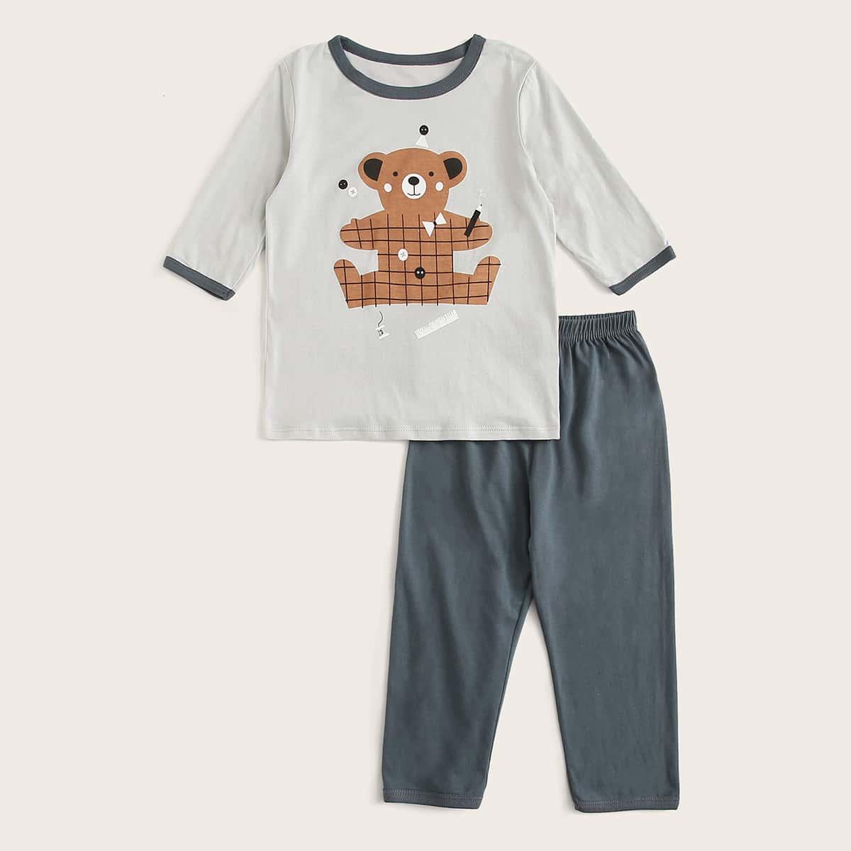 Пижама с контрастной отделкой и принтом \