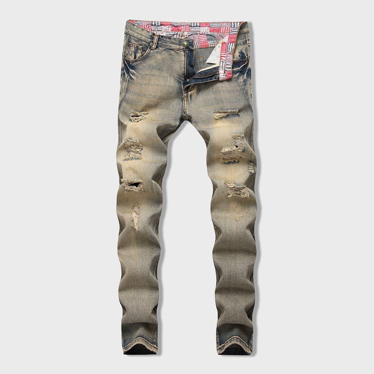 Men Ladder Distressed Skinny Jeans