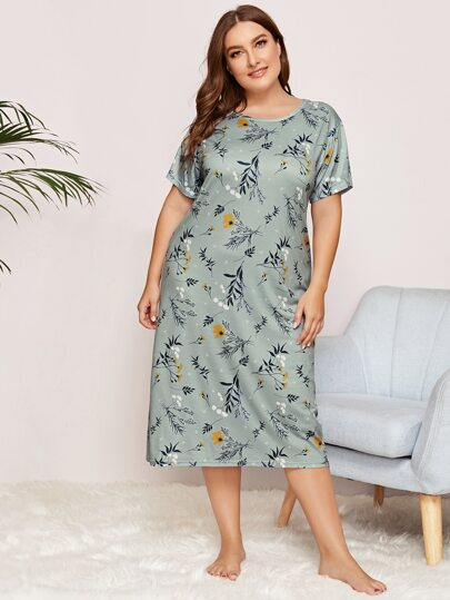 Plus Floral Print Night Dress