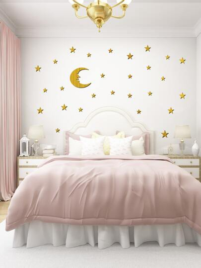 Moon & Star Mirror Surface Wall Sticker