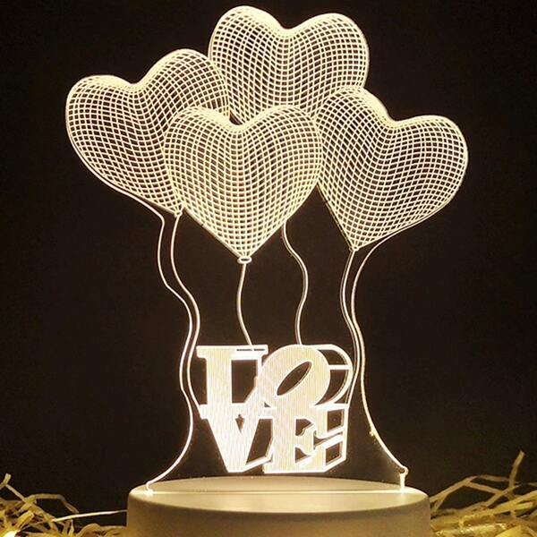 Heart Shaped Night Light, White