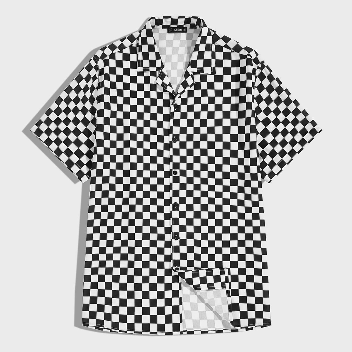 Мужская рубашка в клетку с пуговицами SheIn smshirt07200302299