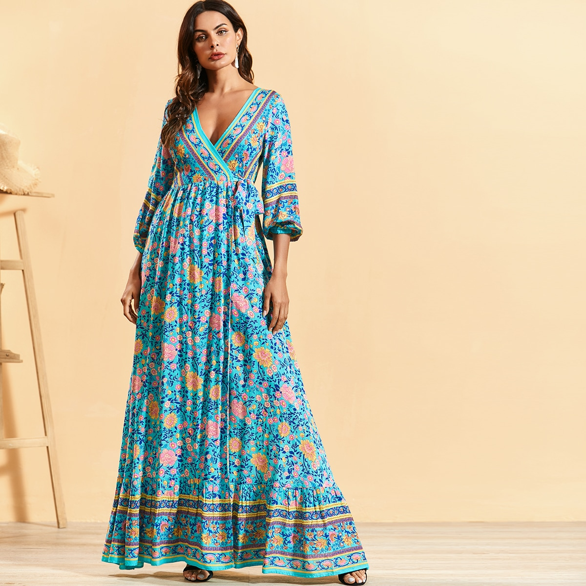 Ditsy Floral Surplice Maxi Dress