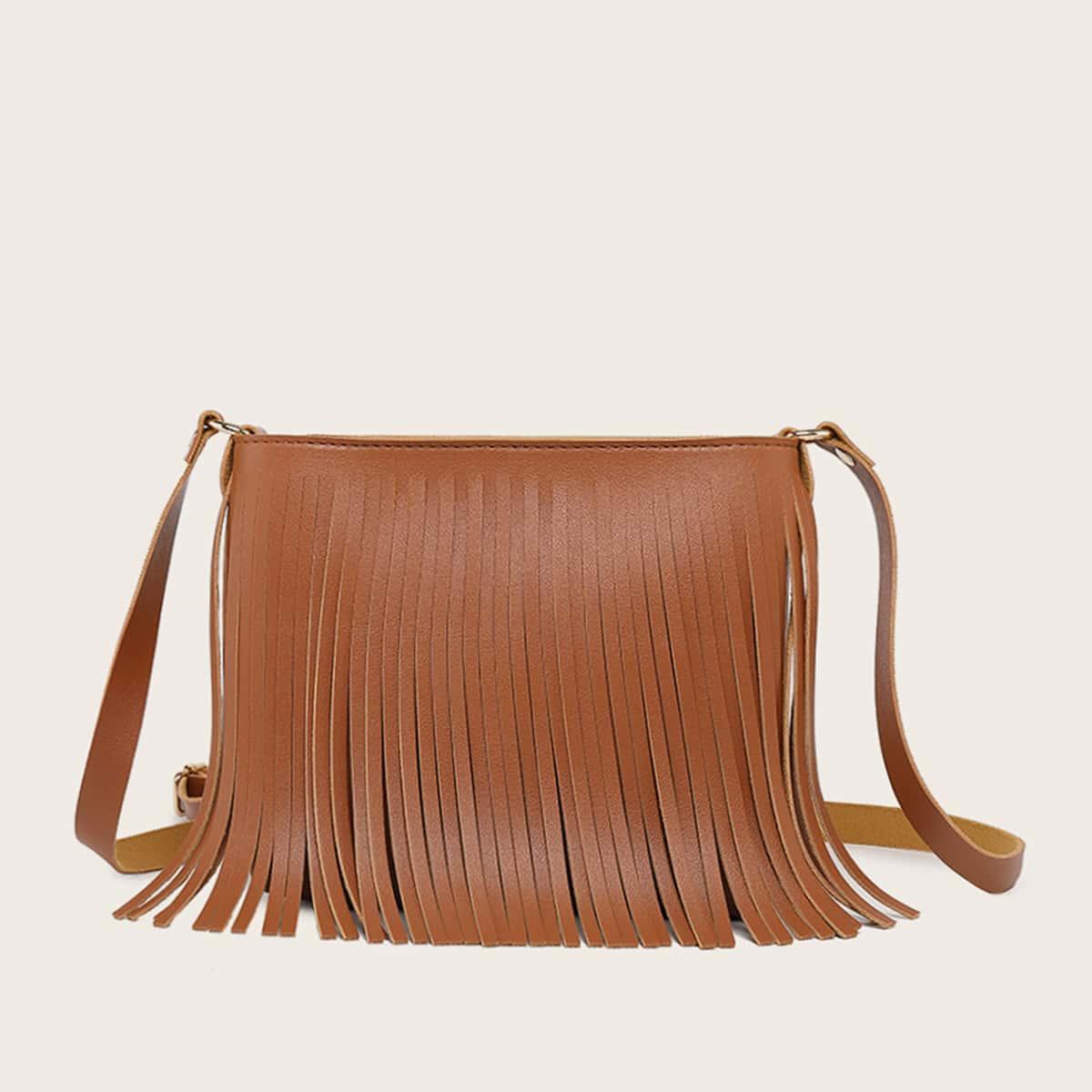 Минималистская сумка через плечо с бахромой