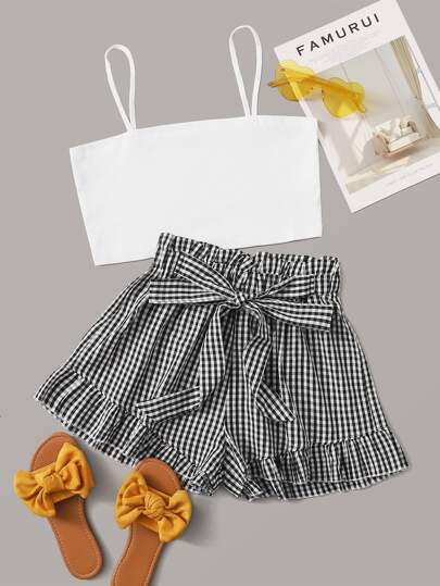Cami Top & Gingham Belted Paperbag Shorts