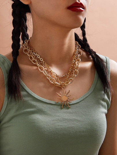 1pc Sun Charm Layered Chain Necklace
