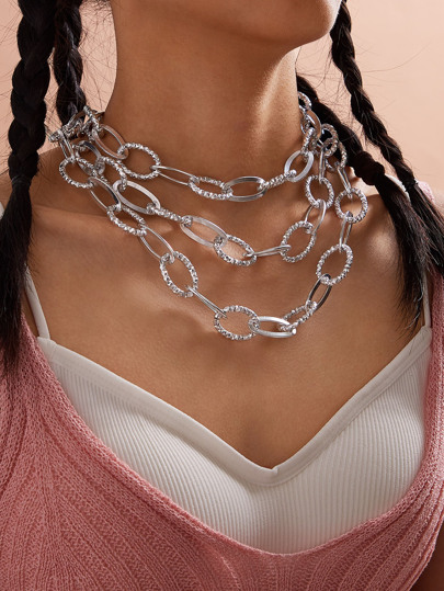 1pc Layered Chain Necklace