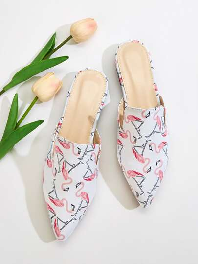 Flamingo Graphic Loafers Mules