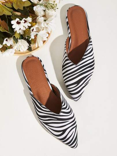 Point Toe Zebra Striped Pattern Flat Mules