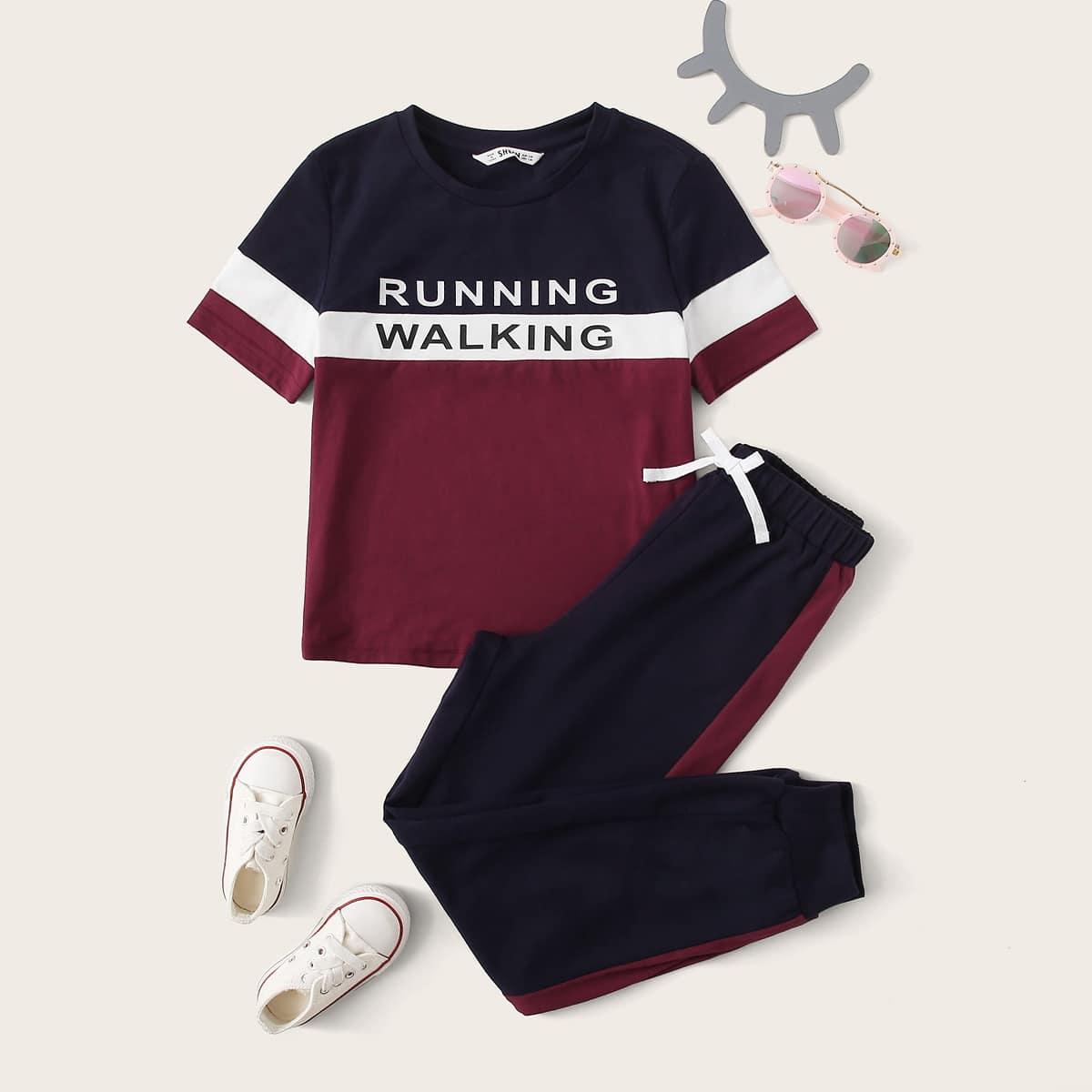 Контрастный топ с текстовым принтом и спортивные брюки для девочек