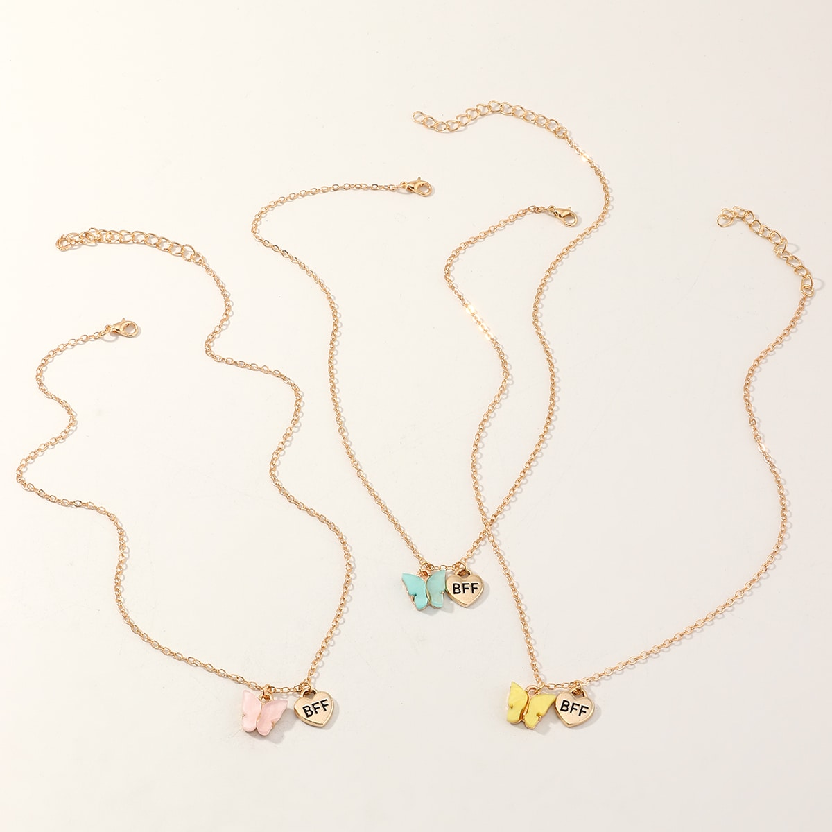 3 Stücke Kleinkind Mädchen Halskette mit Herzen & Schmetterling Anhänger