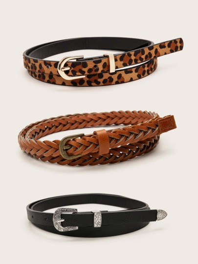 3pc Leopard Pattern Braided Buckle Belt