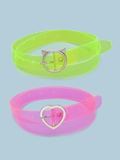 2pcs Heart Buckle Transparent Belt