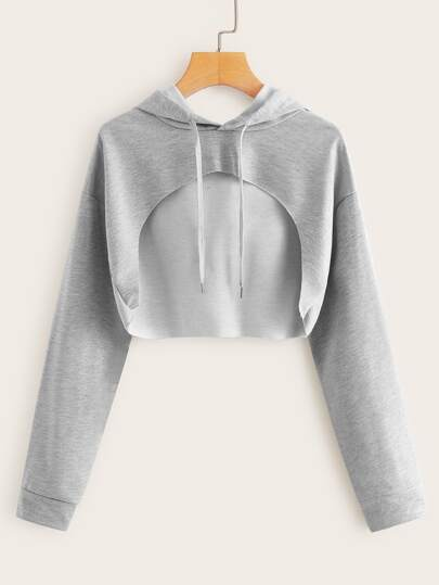 Drop Shoulder Cut Out Front Hoodie