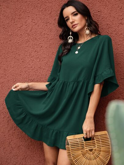 Solid Flounce Sleeve Babydoll Dress