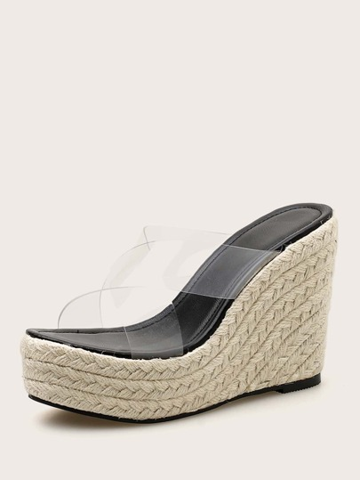 Clear Cross Strap Espadrille Wedge Mules