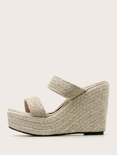 Double Braided Strap Espadrille Wedges Mules
