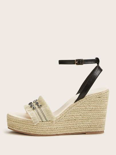 Gemstone Decor Open Toe Ankle Strap Espadrille Wedges