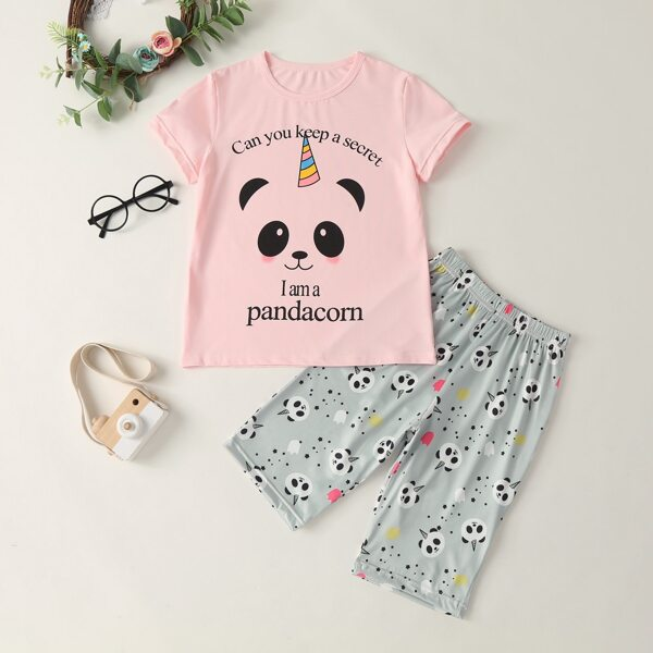 Girls Panda Slogan Graphic Tee With Shorts, Multicolor