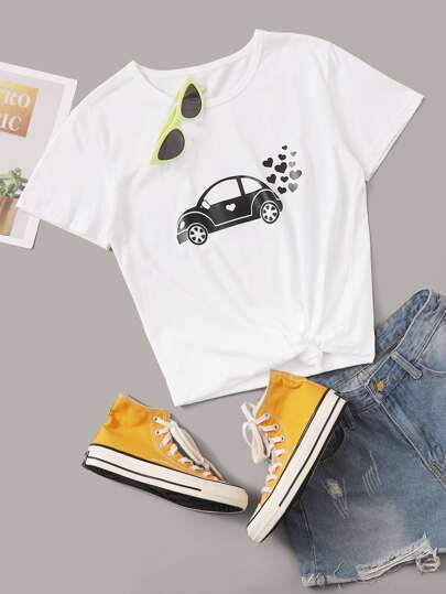 Car And Heart Print Tee