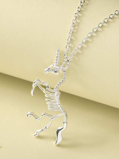 1pc Unicorn Skeleton Charm Necklace