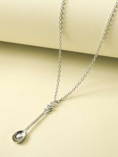 1pc Crown & Spoon Charm Y Lariat Necklace