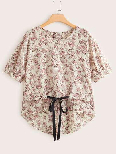 Plus Ditsy Floral Tie Front High Low Blouse