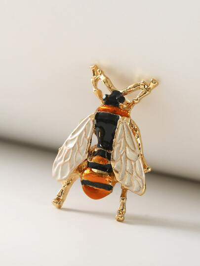 1pc Metallic Bee Shaped Brooch