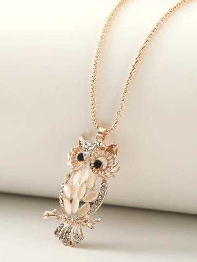 1pc Rhinestone Engraved Owl Charm Necklace