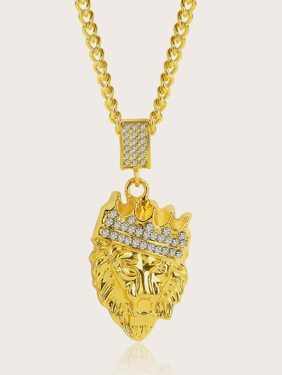 1pc Rhinestone Engraved Lion Head Charm Necklace