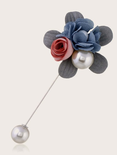 1pc Faux Pearl & Flower Decor Brooch