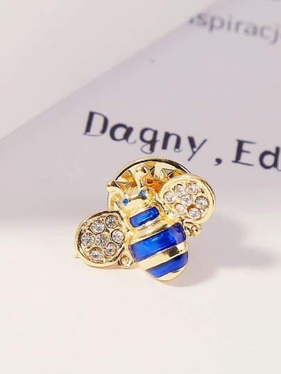 1pc Rhinestone Engraved Bee Shaped Brooch