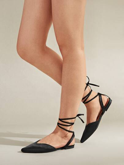 Point Toe Tie Leg Slingback Flats