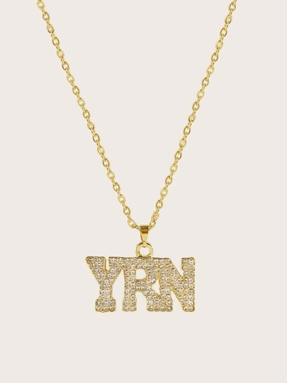 1pc Rhinestone Engraved Letter Charm Necklace