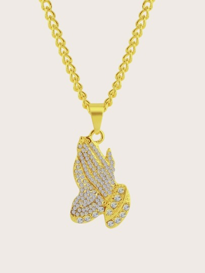1pc Rhinestone Engraved Hand Charm Necklace